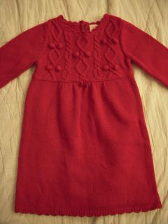 Gymboree Girls Red Knitted Sweater Dress Size 4 4T