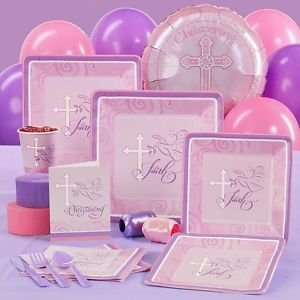 Faithful Dove Baby Girl Pink Christening Party Pack for 8 Party Supplies Set