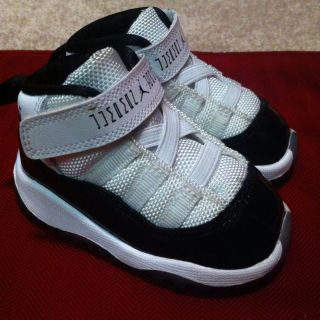 Used Nike Air Jordan 11 Toddler Shoes Size 4c TD White Black XI Retro Space Jam
