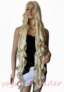 "47"" Long Blonde Spiral Wavy Costume Cosplay Halloween Party Hair Wig"