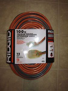 Ridgid 100' Heavy Duty Indoor Outdoor Extension Cord