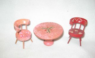 Vintage 3 PC Pink Red Minature Wood Doll House Table Chairs Made in Japan