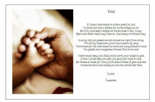 ♥ Personalised Fathers Day Poem Gift ♥ A Beautiful Present for Your Dad Hands ♥