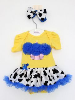 2pcs Newborn Baby Girl Headband Romper Dress Clothes Outfit Zebra 6 9M