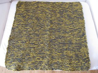 "27"" x 27"" Hand Knit Homemade Baby Blanket Mustard Yellow Charcoal Gray Grey"