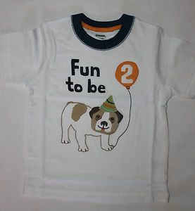 Gymboree 2nd Birthday Fun to Be 2 Two Dog Tee Shirt 2T 3T