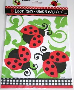 Ladybug Red 1st Birthday Baby Shower 8 Plastic Loot Favor Bags Party Supplies