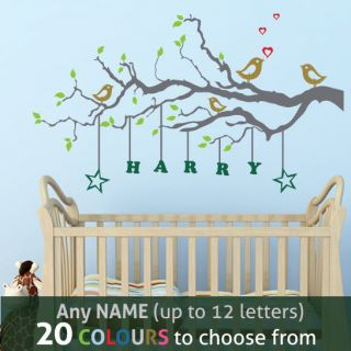 Personalised Name Kids Boy Girl Nursery Love Birds Tree Wall Sticker Decal Mural