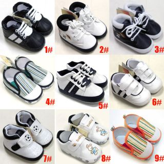 New Soft Leather Cotton Baby Boy Girl Shoes 0 6 6 12 mths Infant Toddlers