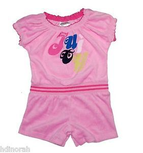 Juicy Couture Baby Girls Pink Soft Terry Prism Pink Shortall Romper
