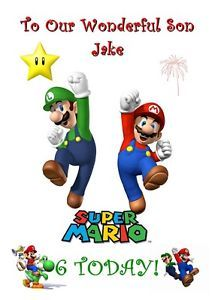 Super Mario Bros Personalised Birthday Card Luigi Kids