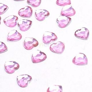 500pcs Pink Crystal Love Hearts Shape Wedding Party Decoration Supplies