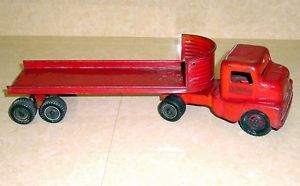 Structo 1950's Cabover Truck and Flatbed Trailer