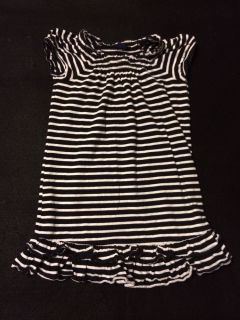 Baby Gap Black White Striped Ruffle Knit Dress Size 3 4
