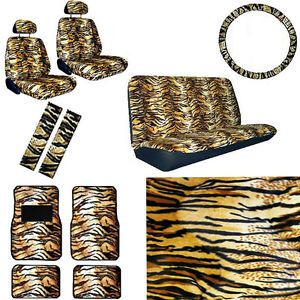 15pc Set Seat Covers Beige Brown Tan Tiger Animal Floor Mat Wheel Belt Head Pads