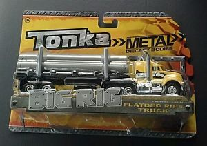 Tonka Truck Metal Diecast Bodies Big Rig Flatbed Pipe Truck