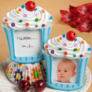 50 Blue Cupcake Placecard Holder Picture Frame Baby Shower Favor