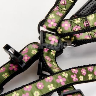Flower Print Pet Dog Lead Leash Harness Strap Collar