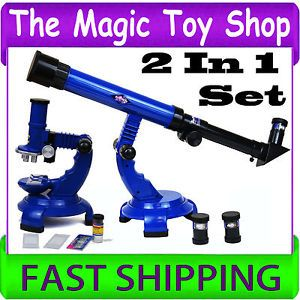 New Telescope Microscope Set Childrens Kids Edu Educational Science Toy