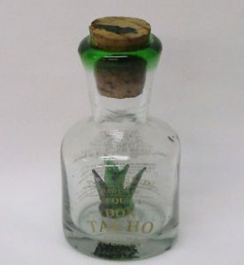Mouth Blown Glass Empty Don Tacho Tequila Bottle with Inset Leaf Cactus