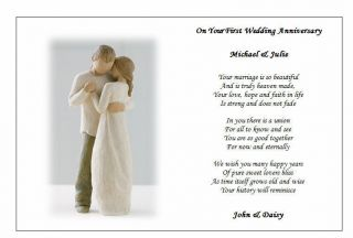 Wedding Anniversary Gift Personalised Poem for Any Anniversary