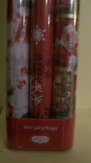 3 Rolls 180 Sq ft Christmas Gift Wrapping Paper Holiday Presents Santa Snowman