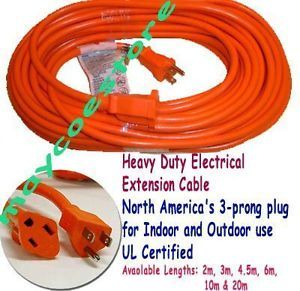 15 ft 4 5 Meter Power Electrical Extension Cord Cable Indoor Outdoor USA Canada