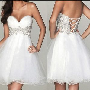 Strapless Homecoming Cocktail Glitter Short Silver White Dress