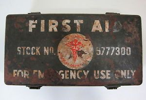 Genuine WW2 Jeep First Aid Kit Stock No 9777300 w Most Original Contents