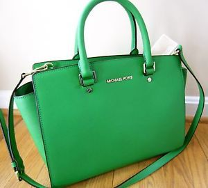 Michael Kors Large Selma Topzip Satchel Palm Green Saffiano Leather Tote Bag
