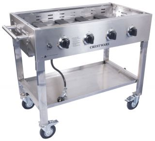 Portable Commercial Self Standing Propane Gas Griddle Grill Base Stainless Steel