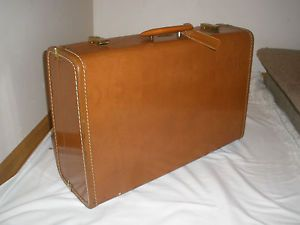 Vintage Leather Maximillian Suit Case Luggage New York Hard Sided Stackable