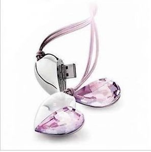 Wholesale Genuine Pink Crystal Heart USB 2 0 Flash Memory Pen Drive Stick 8GB
