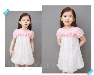 New Kids Toddlers Girls Princess Cotton Flower Lace Short Dress AGE2 7Y