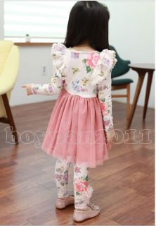 New Kids Toddlers Girls Lovely Flower Long Sleeve Age 3 8Y Tulle Tutu Dress