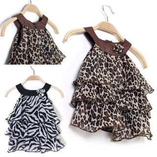 Lovely Baby Kid Toddler Girl Leopard Zebra Chiffon Dress Top Clothes Outfits