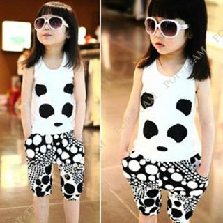 Cute Girls Kid Panda Clothes Summer Top Vest Pants 2pc Outfit Set 3 9Y Suit TYC6
