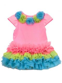 RARE Editions Infant Toddler Girls Rainbow Ruffle Tutu Dress 12 18 24 Months