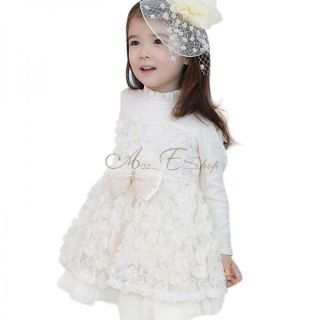 Girl Kid Lace Rose Pageant Party Formal Dress Baby Tulle Tutu Skirt Clothes 3T 7