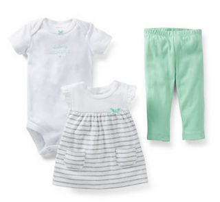 Carters Baby Girl Clothes 3 Piece Set White Green Gray NB 3 6 9 12 Months