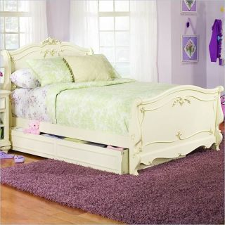 Lea Jessica McLintock Romance Kids Wood Sleigh Bed in Antique White 3 Piece Bedroom Set   203 9X8R PKG3