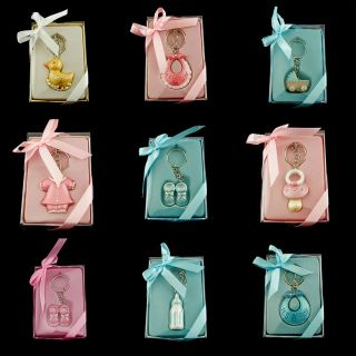 Cute Pink Blue Baby Shower Key Chain Favor Lot of 6 Pieces Keychain Party Favors