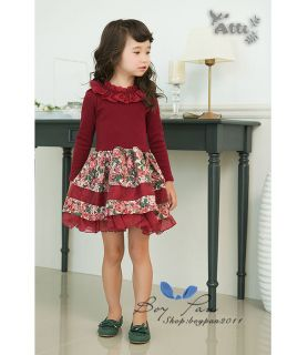 New Style Kids Toddlers Girls Long Sleeve Lovely Collar Ages 2 7Y Tutu Dress