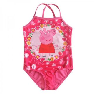 Girls Kids Peppa Pig Floral Swimsuit Swimwear Bathing Suit One Piece Swim Sz 5 6
