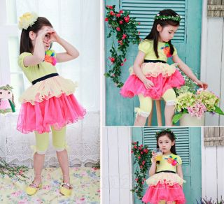Princess Kids Toddlers Girls Yellow White Short Sleeve Tutu Dress sz2 7Y
