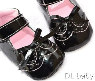 Kids Toddler Baby Girl Black Mary Jane Shoes Size 2 3