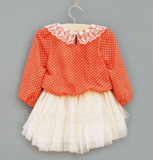 Kids Clothes Girls Baby Princess Orange Long Sleeve Tulle Tutu Dress Fit 3 Years