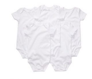 New Carters Baby Boy Girl Clothing 5 Pack Bodysuits White Short Sleeve 12M