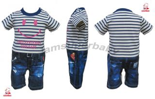 6 24M Baby Boy Twins Smiley Face Stripes T Shirt Jeans Bodysuit Romper Outfit