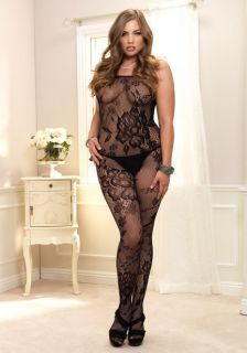 Plus Queen Size Lingerie Black Net Open Crotch Floral Bloom Print Bodystocking